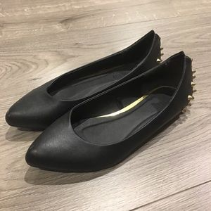 Black Leather Ballet Flats with Gold Studs